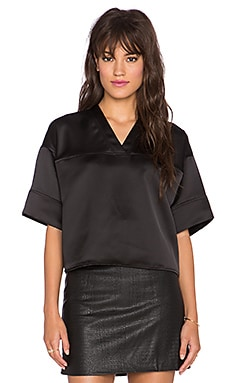 T by Alexander Wang Football Crop V Neck Tee in Black