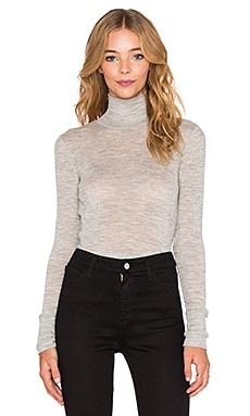 T by Alexander Wang Rib Long Sleeve Fitted Turtleneck in Light Heather Grey