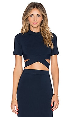 T by Alexander Wang Criss Cross Raglan Top in Midnight
