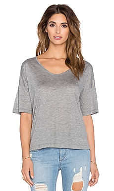 T by Alexander Wang Viscose Jersey Low Neck Tee in Heather Grey