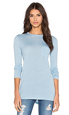 T by Alexander Wang Classic Long Sleeve Tee With Pocket in Sky
