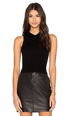 T by Alexander Wang Superfine Merino Open Back Tank in Black