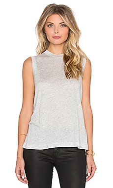 Viscose Jersey High Neck Flared Tank en Gris Clair Chiné