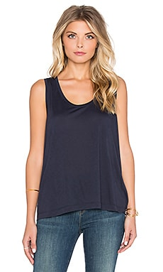 T by Alexander Wang Viscose Jersey Low Neck Flared Tank in Marine