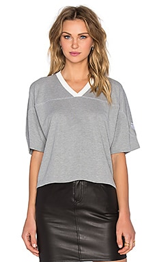 T by Alexander Wang Sandwashed Pique Crop Top in Heather Grey