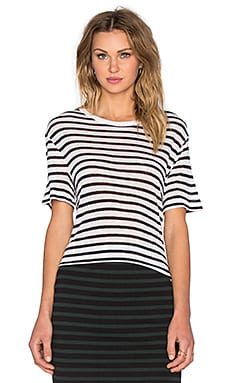 T by Alexander Wang Stripe Rayon Linen Tee in Ink & Ivory