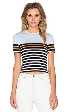 T by Alexander Wang Stretch Cotton Engineer Stripe Crop Top in Ice Multi