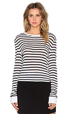T by Alexander Wang Stripe Rayon Linen Long Sleeve Tee in Ink & Ivory