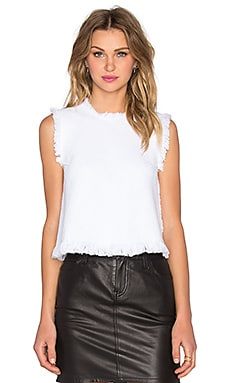 T by Alexander Wang Frayed Burlap Crop Top in White