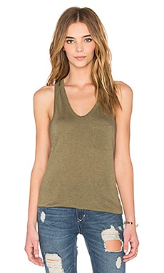 T by Alexander Wang Classic Tank with Pocket in Fatigue