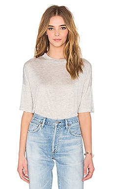 Drop Shoulder Tee en Gris Clair Chiné