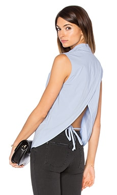 Sleeveless Back Overlap Shirt in Chambray