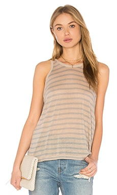 T by Alexander Wang Linen Tank in Oatmeal & Jade