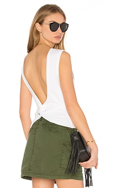 Open Back Twist Tank Top in White