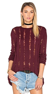 T by Alexander Wang Long Sleeve Top in Bordeaux