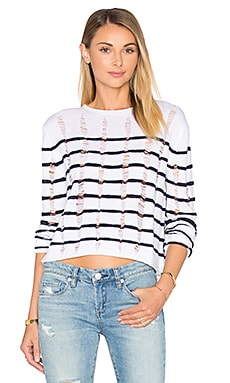 T by Alexander Wang Cropped Long Sleeve Top in Ink & Ivory