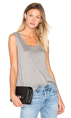 Classic Low Neck Flared Tank in Heather Grey