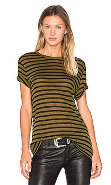 T by Alexander Wang Linen Stripe Tee in Black & Forest