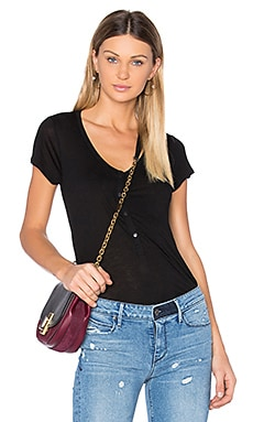 Cap Sleeve Low Neck Henley Tee in Black