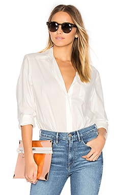 Long Sleeve Shirt Bodysuit in Elfenbein