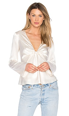 Silk Tie Front Long Sleeve Top en Ivory