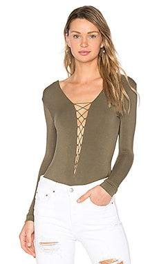 Lace Up Bodysuit in Military