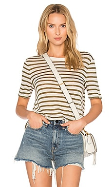 Short Sleeve Crop Tee in Cream & Military