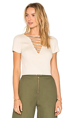 Lace Up Top in Almond