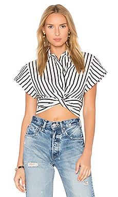 Twist Front Top in Black & White