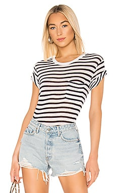 Classic Striped Slub Jersey Short Sleeve With Pocket Tee T by Alexander Wang $78