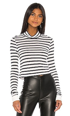 New Striped Slub Crop Mock Neck Top T by Alexander Wang $155 NEW ARRIVAL