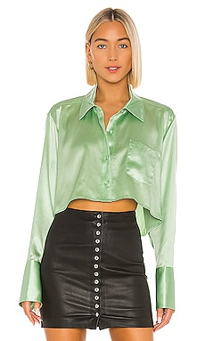 Wet Shine & Go Cropped Blouse T by Alexander Wang $350