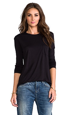 T by Alexander Wang Classic Long Sleeve Pocket in Black