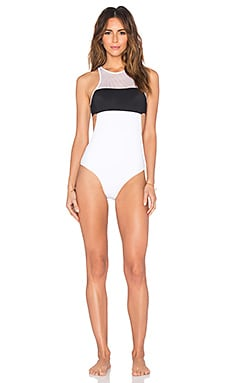 T by Alexander Wang Mesh & Matte Tricot One Piece in Black & White