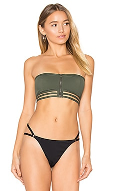 Cage Bandeau Swim Top in Fatigue