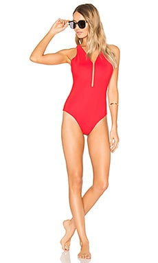 Fish Line Detail One Piece in Vermillion