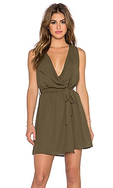 Three Eighty Two Hunter Fold Over Dress in Olive