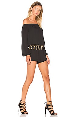 Three Eighty Two Thompson Off Shoulder Romper in Black