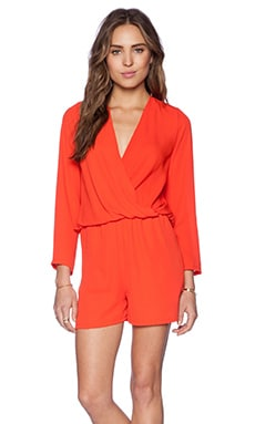 Three Eighty Two Carter Long Sleeve Romper in Tomato