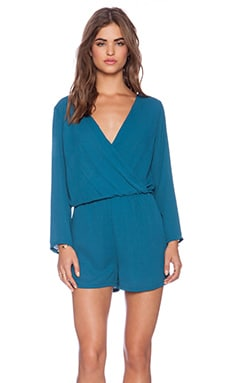 Three Eighty Two Carter Long Sleeve Romper in Teal