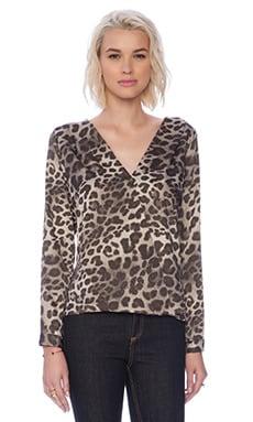 Three Eighty Two Sienna Surplice Top in Leopard