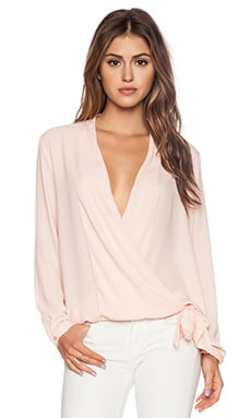 Three Eighty Two Stella Surplice Top in Blush