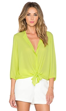 Three Eighty Two Ryder Tie Front Blouse in Margarita
