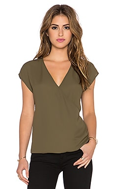 Three Eighty Two Jackson Surplice Top in Olive