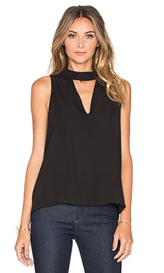 Three Eighty Two Ariana Cutout Turtleneck Tank in Black