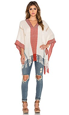 Tejido Honeycomb Poncho in White & Persimmon