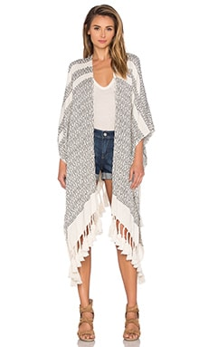 Pom Pom Poncho in White & Black