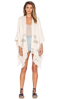 Tejido Pyramid Open Front Poncho in White & Grey