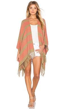 Tejido Open Front Poncho in Tan & Coral