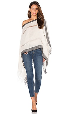 Tejido Fringe Poncho in Black & White